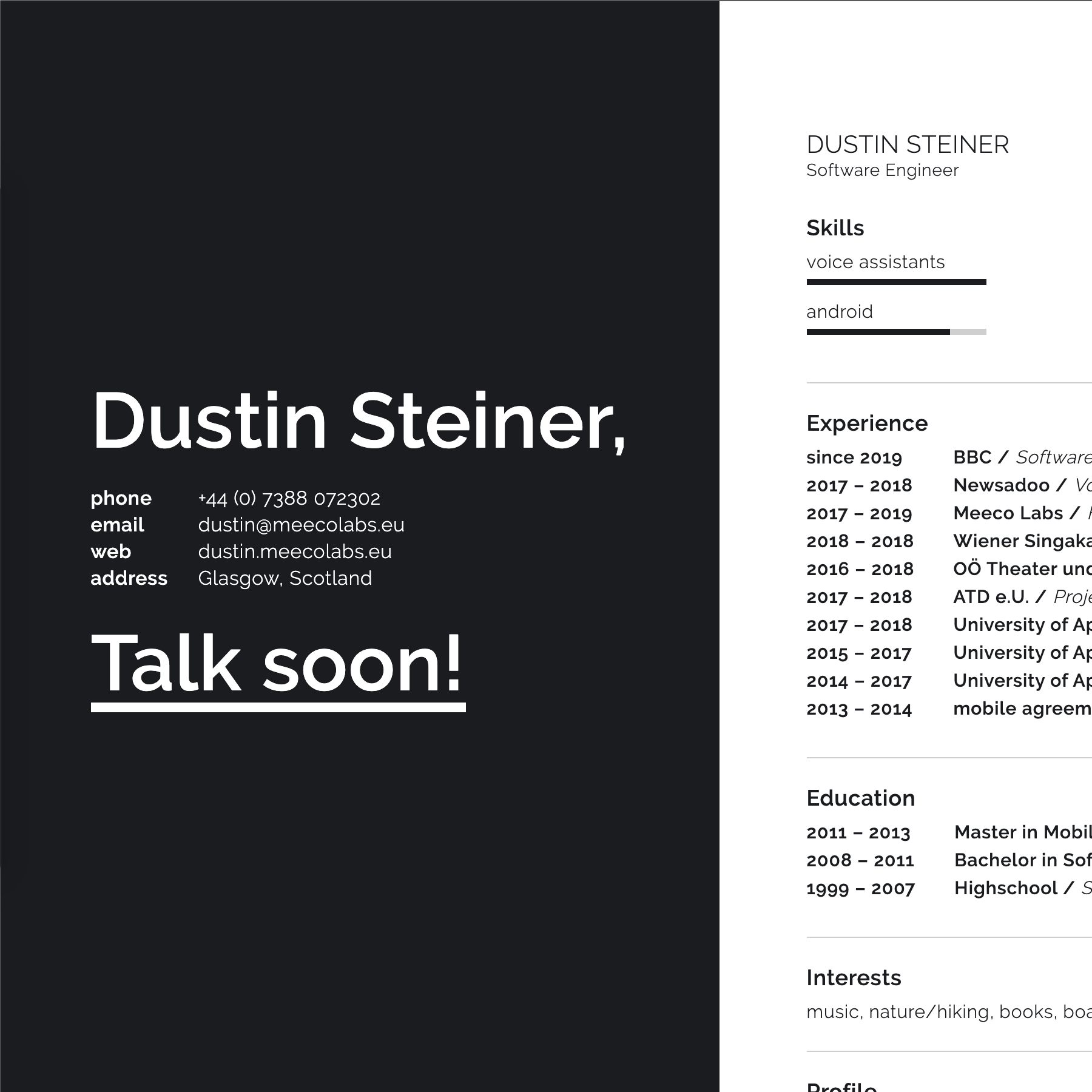screenshot of the dustin's cv